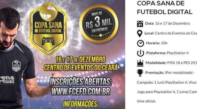 Já estão abertas as inscrições para a Copa de Futebol Digital 2017 no Sana Fest