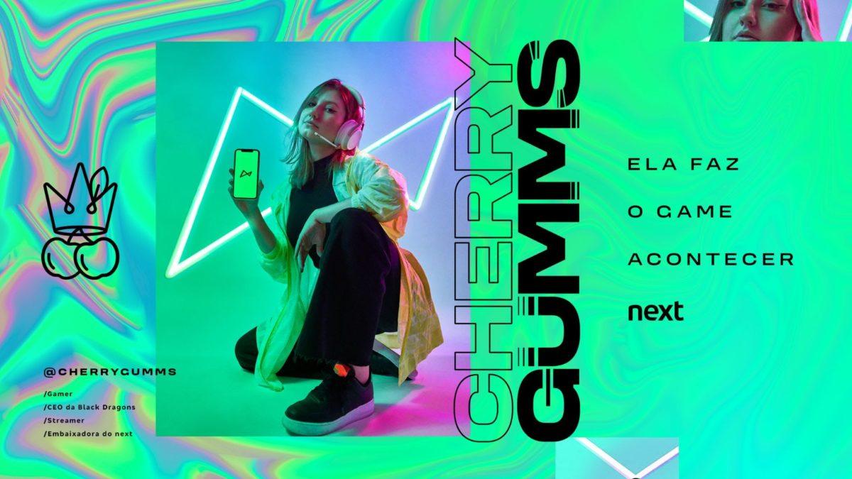 Cherrygumms, maior referência feminina do cenário de games do Brasil, é a nova embaixadora do Next